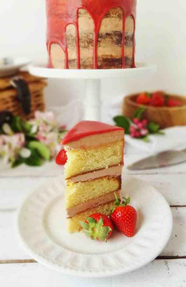 roasted strawberry, elderflower and almond layer cake