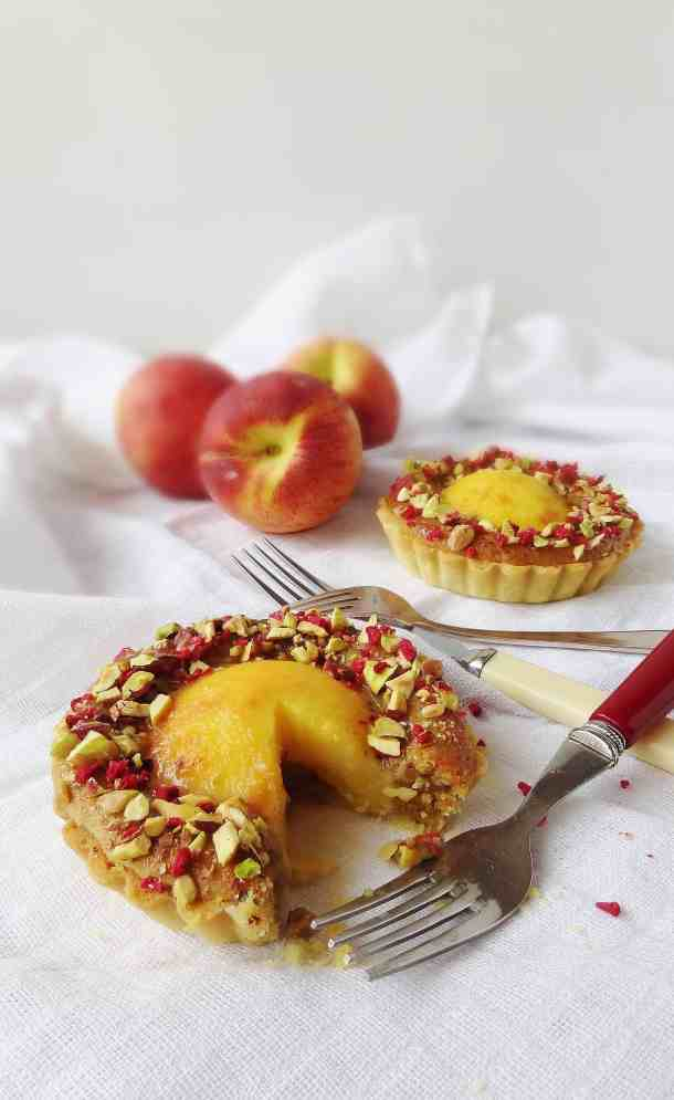 Peach, pistachio frangipane & rose tarts - Domestic Gothess