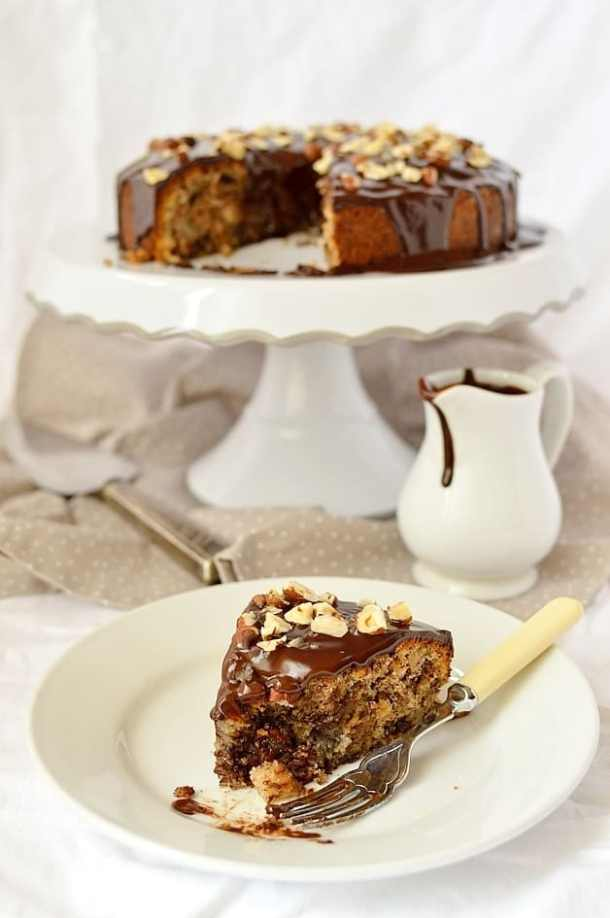 Autumnal dark chocolate, pear, hazelnut and cinnamon cake with dark chocolate ganache