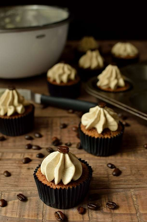 Espresso martini cocktail cupcakes flavoured with Kahlua, vodka and coffee