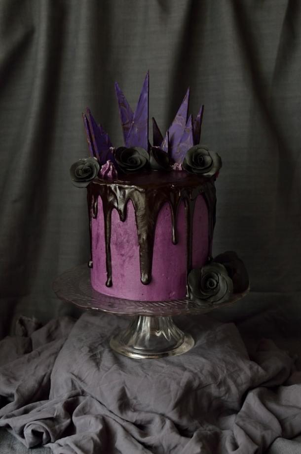 Chocolate and blackberry Halloween cake; three layers of moist chocolate cake with blackberry jam, swiss meringue buttercream and ganache