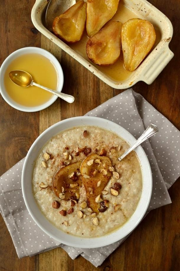 Vanilla almond milk oatmeal with honey roast pear, cinnamon and hazelnuts; dairy free and easily adaptable to be vegan.