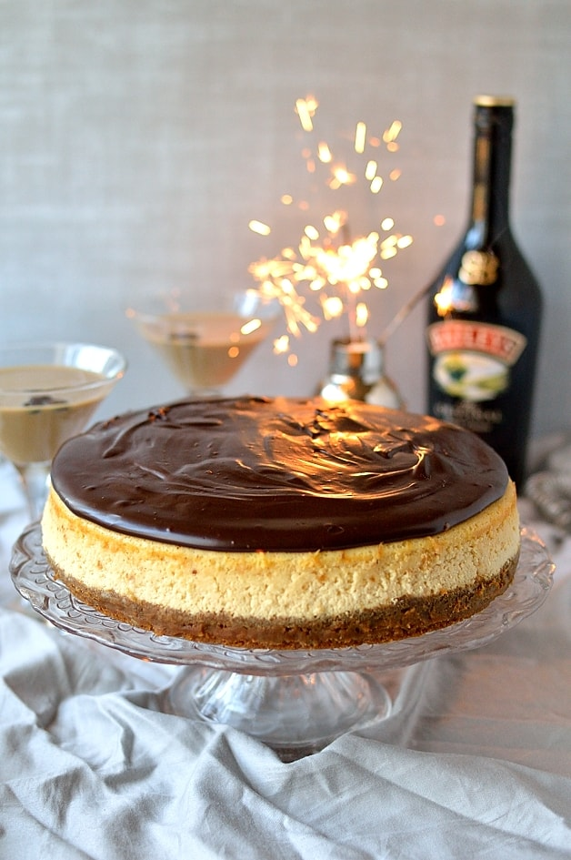 Baileys Irish Cream baked cheesecake with gingersnap crust and Baileys chocolate ganache and a Flat White Martini