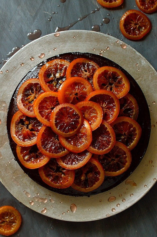 Chocolate, rosemary and olive oil cake with candied blood oranges; soft, aromatic and utterly delicious