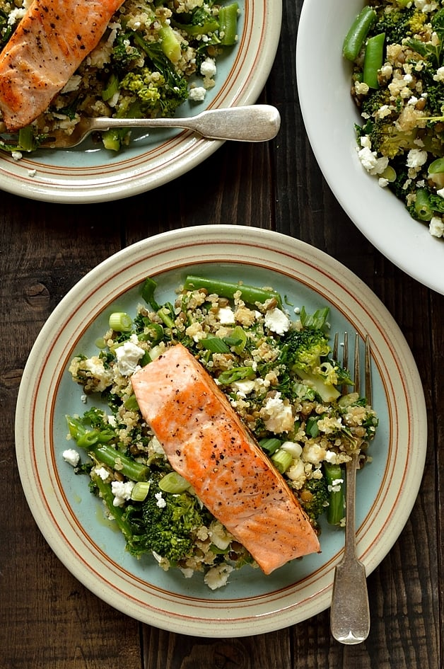 Warm quinoa, green lentil, kale and feta salad with salmon - Domestic Gothess