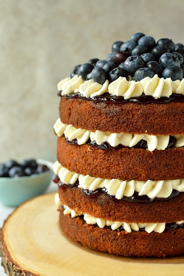 Blueberry banana buckwheat cake with blueberry jam and vanilla mascarpone cream
