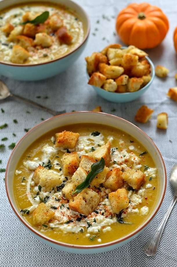 Gently spiced roast pumpkin soup, garlic croutons, feta cheese and fried sage