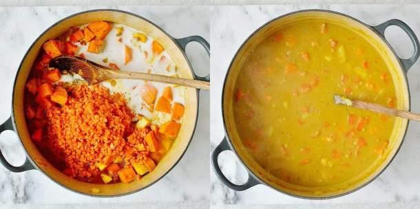 spiced red lentil root vegetable soup step 2