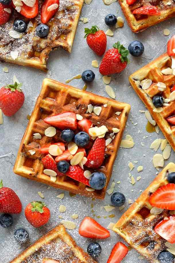 chocolate chip almond waffles - fluffy waffles made with ground almonds and filled with chocolate chips; perfect for an indulgent breakfast or brunch.