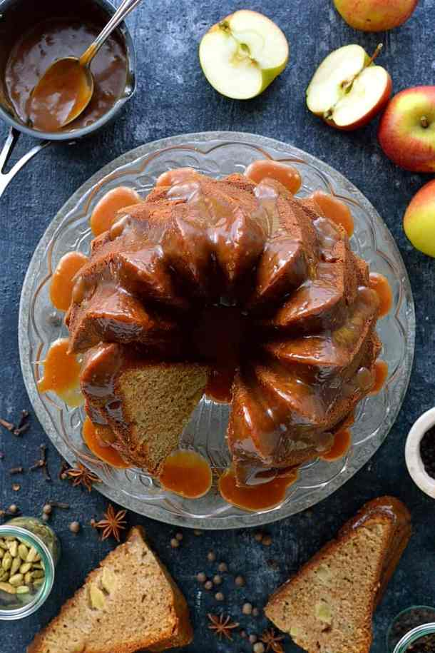 Apple bundt cake with spiced caramel - a deliciously moist, spiced apple bundt cake topped with a luscious spiced caramel sauce.