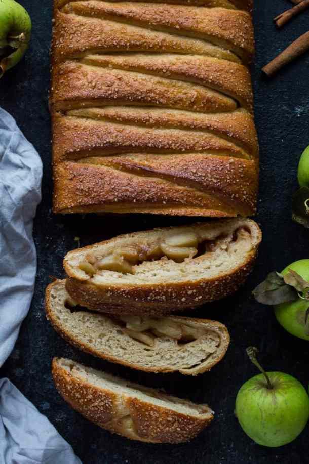 Close up of sliced apple and cinnamon brioche bread