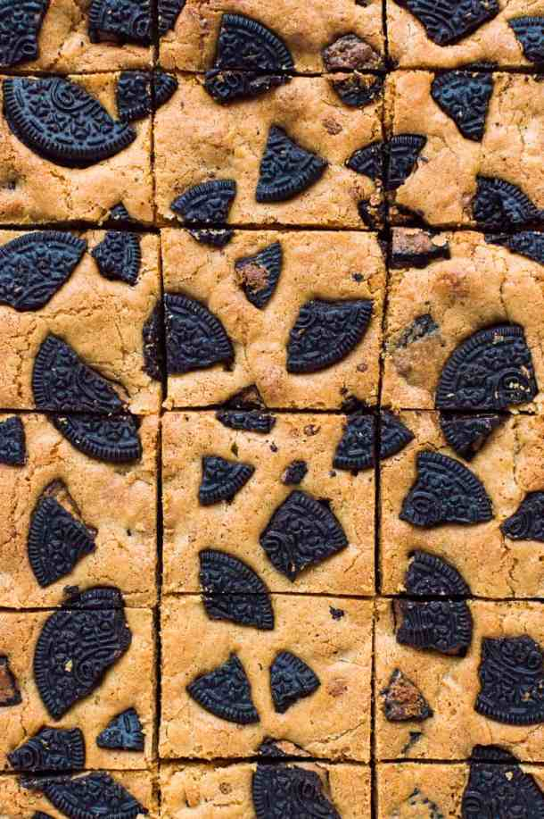 Top down shot of peanut butter Oreo blondie squares.