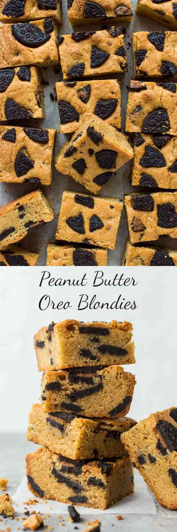 Peanut Butter Oreo Blondies – easy chewy peanut butter blondies filled with tasty pieces of peanut butter flavour Oreos; utterly heavenly! #peanutbutter #Oreo #blondies #baking