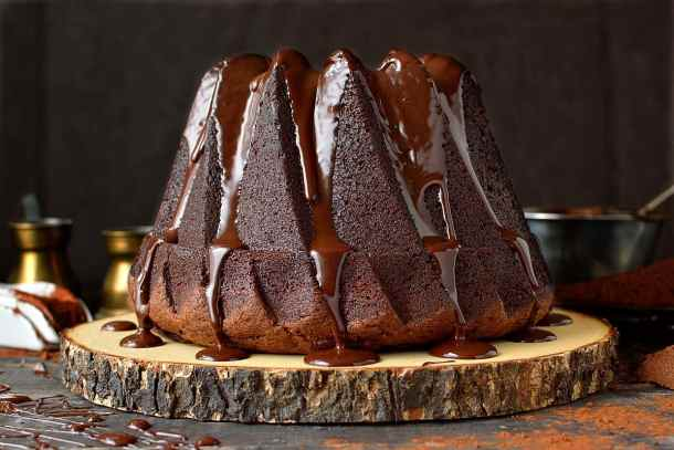 Chocolate bundt cake with dark chocolate ganache glaze.