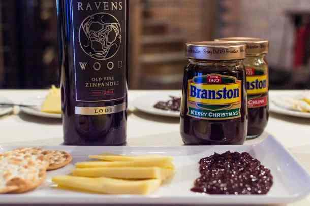 mature cheddar, zinfandel, small chunk Branston pickle