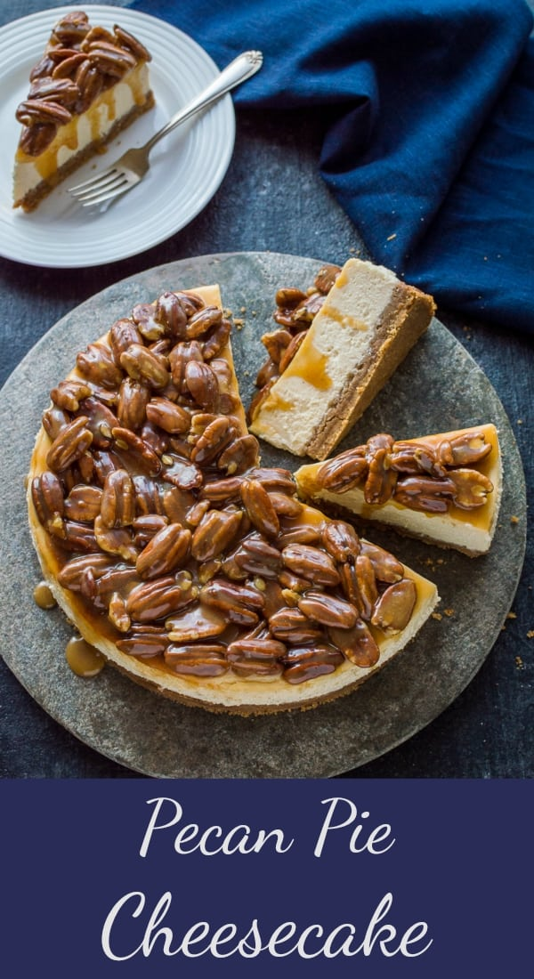 Pecan pie cheesecake - two amazing desserts rolled into one to give the best of both worlds! A creamy baked vanilla cheesecake topped with pecans in caramel sauce. #cheesecake #baking #dessert