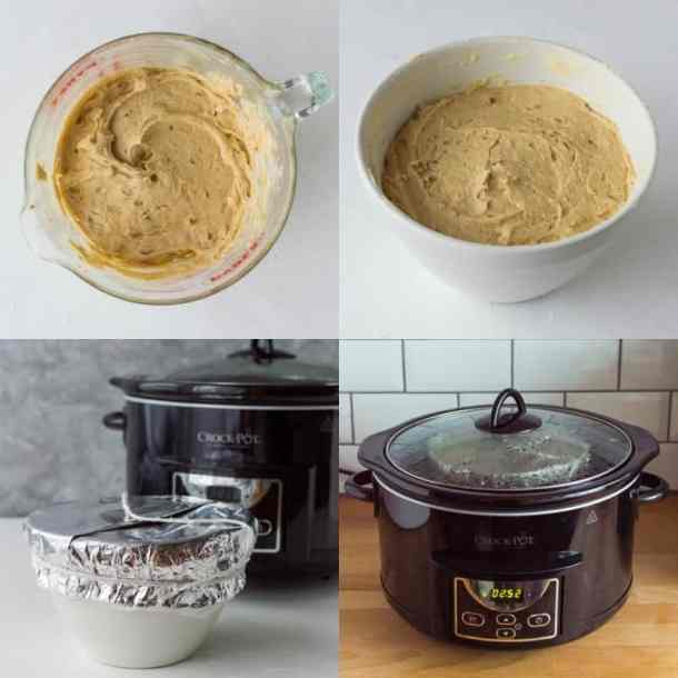 Step-by-steps of making a slow cooker steamed pudding.