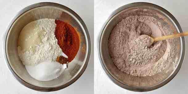 chocolate orange hot cross buns step 1