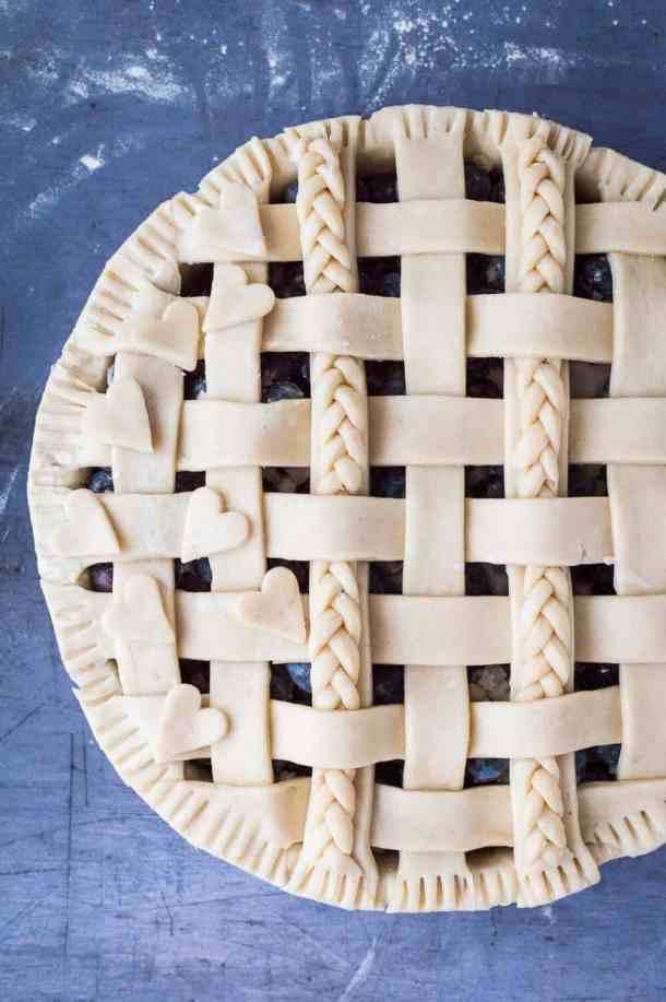 vegan blueberry pie unbaked