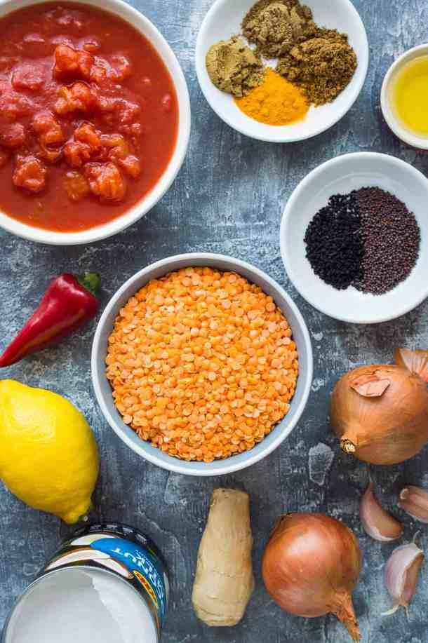 red lentil dhal ingredients