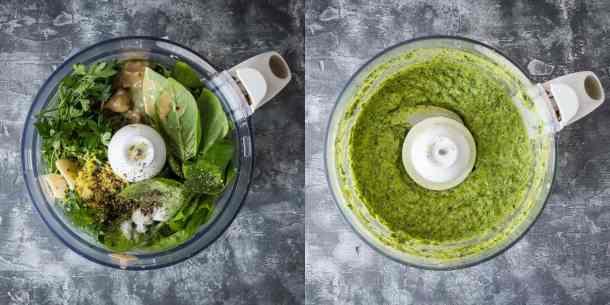 tahini herb dressing steps
