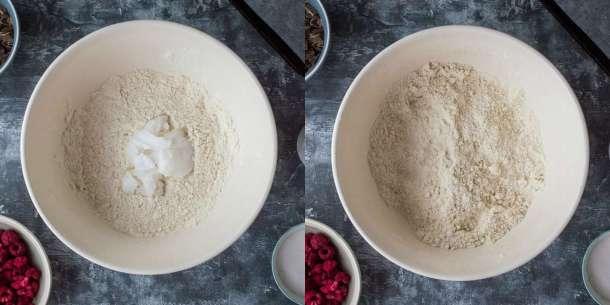 vegan chocolate raspberry scones step 1