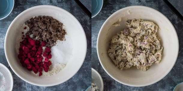 vegan chocolate raspberry scones step 2