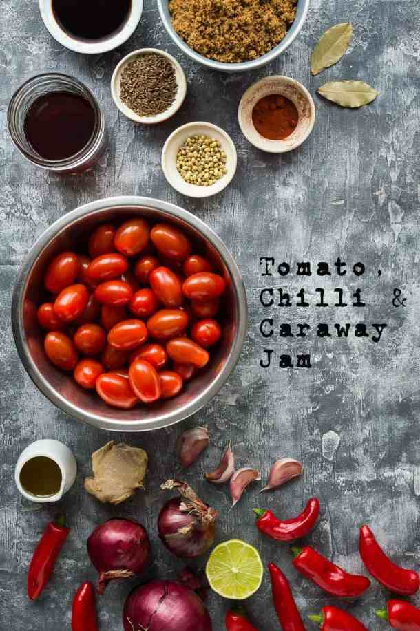 Tomato, chilli and caraway jam ingredients