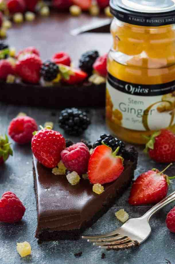 No-bake vegan chocolate ginger tart made with Opies stem ginger