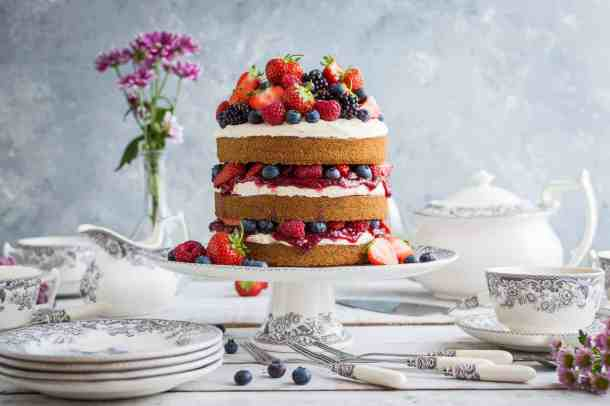 Vegan vanilla cake with berries and jam with pieces from the Spode Delamere Rural pottery range