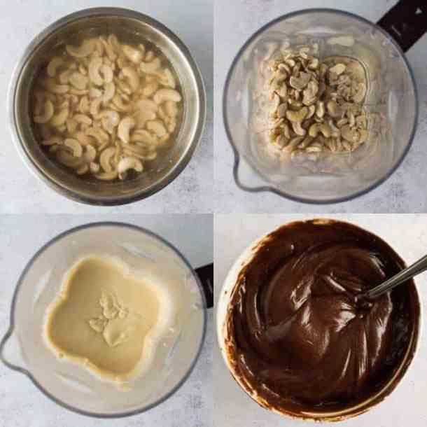 maple pecan cake step 3 - making the chocolate cashew cream frosting