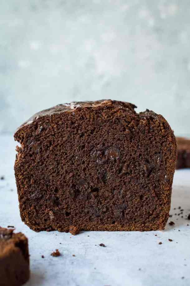 Shot of the end of a sliced loaf of vegan chocolate banana bread.
