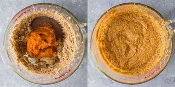 pumpkin chocolate chip bars step 4 - mixing in the pumpkin puree
