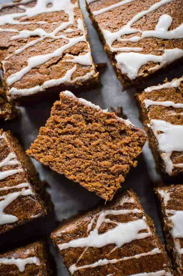 close up of a square of easy vegan ginger cake