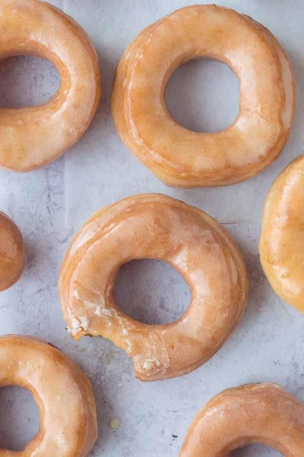 doughnuts arranged on a grey background