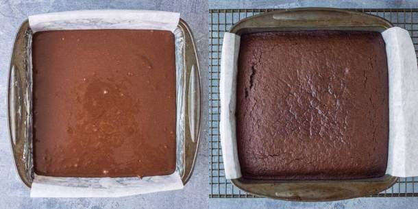 easy vegan chocolate cake step 2 - baking the cake