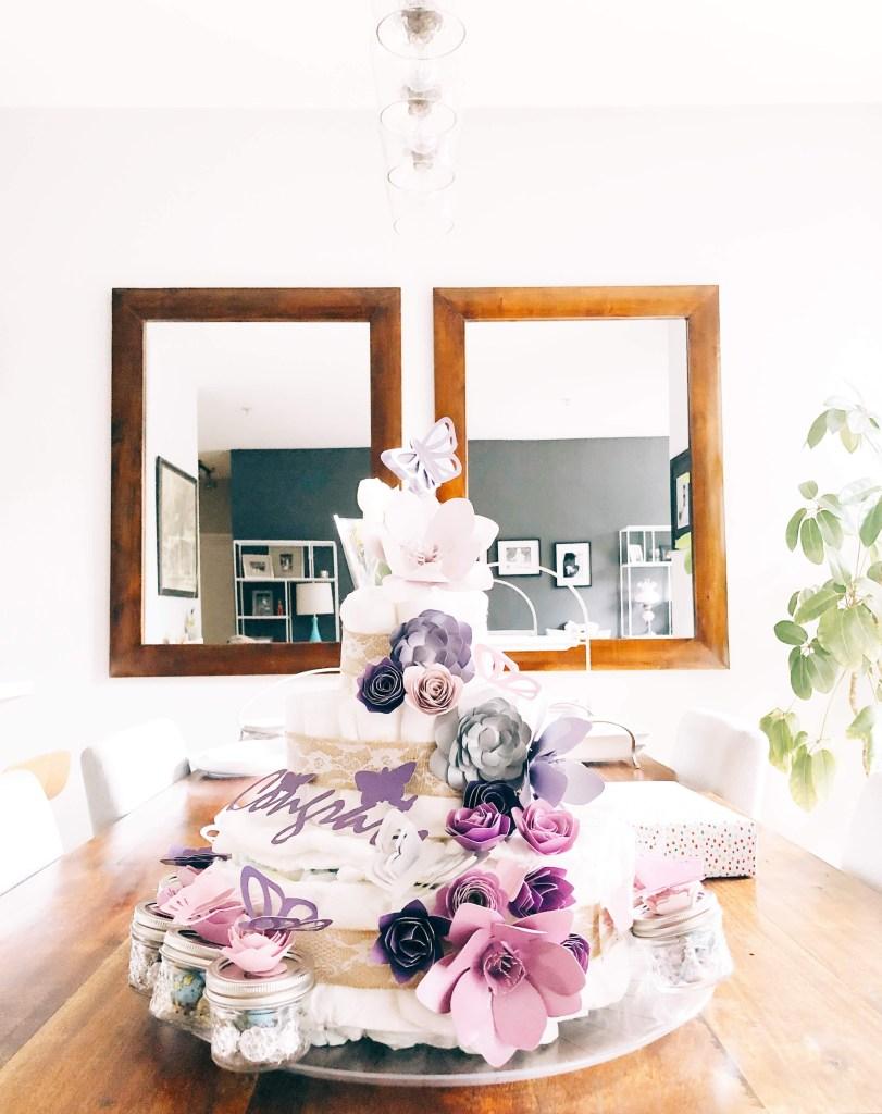 Rustic floral diaper cake