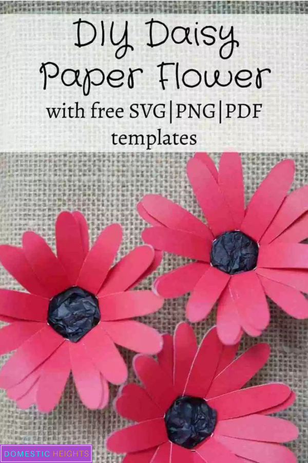 paper daisy flower template and tutorial, free svg cut files for cricut and silhouette