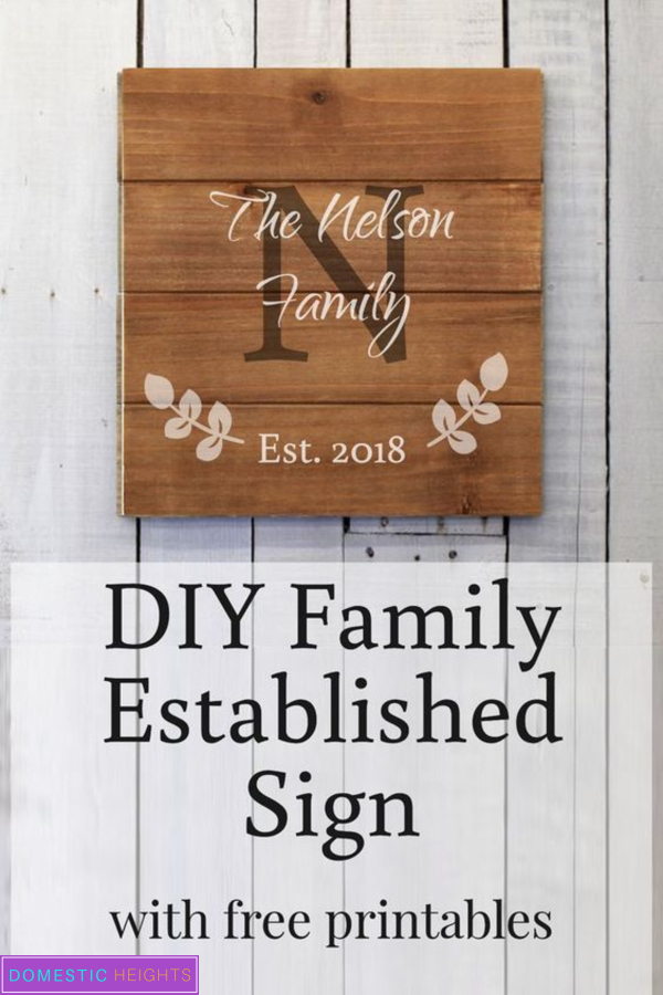 diy family establish sign, farmhouse decor, rustic family signs, free printable