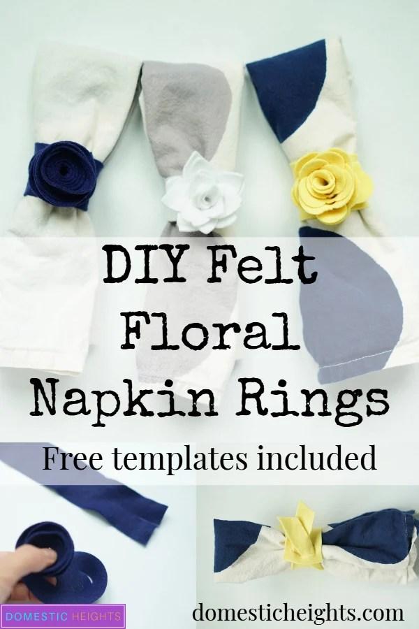 diy felt floral napkin rings, felt craft idea, cricut maker project