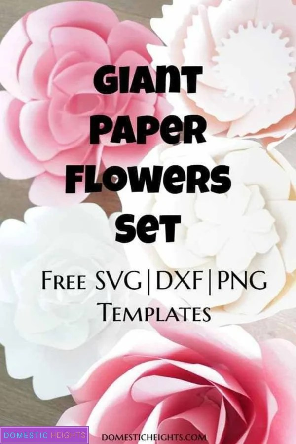 giant paper flower tutorial with free svg cut file and printable templates