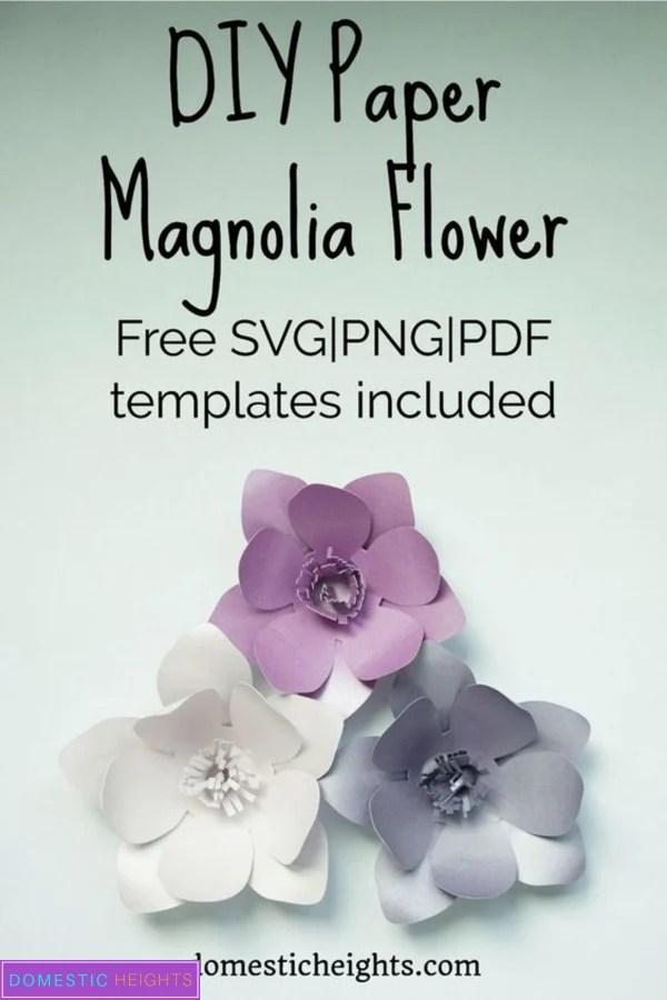 cricut paper flower free svg templates, paper magnolia printable template
