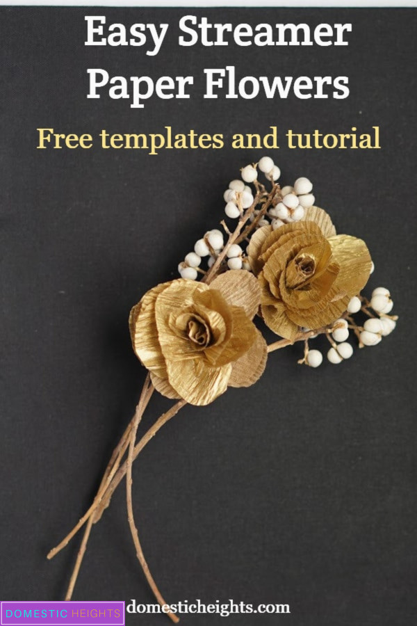 easy streamer crepe paper flower tutorial with free templates
