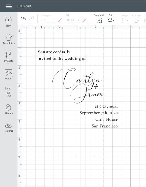 cricut wedding invitation template