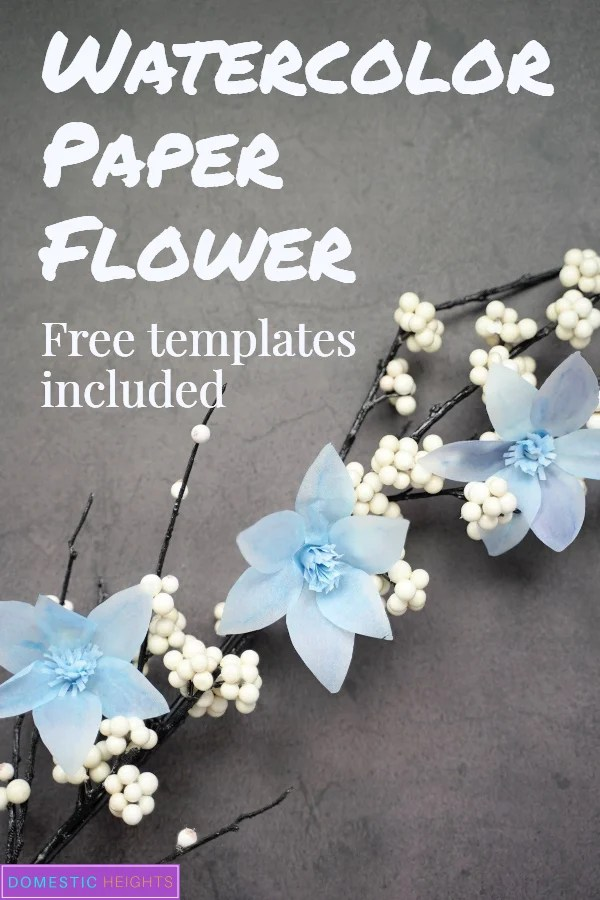 free paper flower template, printable, watercolor paper flower