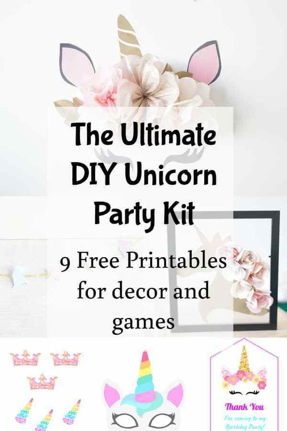unicorn party template and printables free