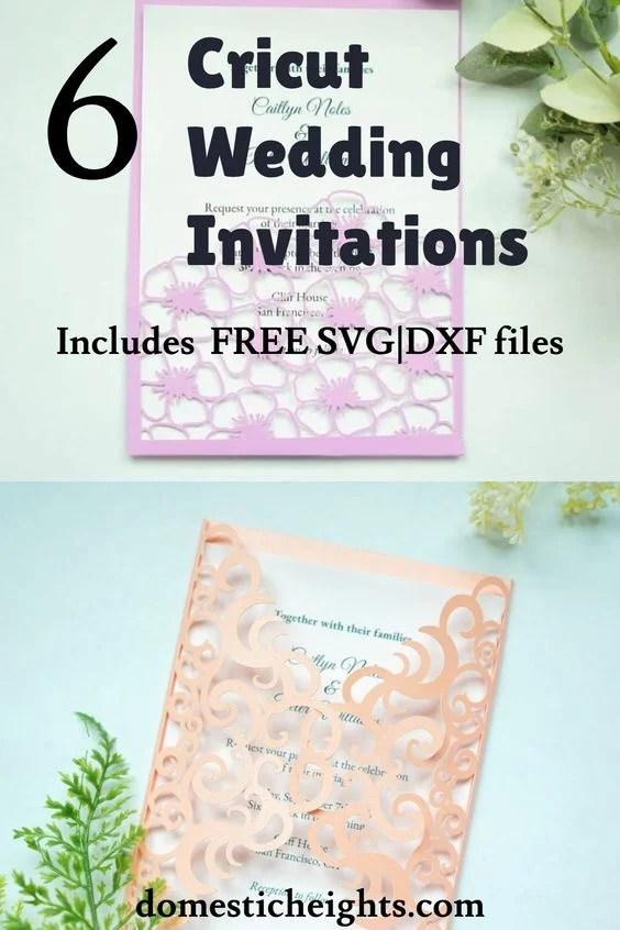 free cricut wedding invitation svg cut files templates