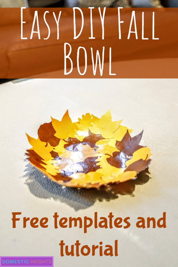 easy diy home decor, fall decor craft project, paper leaves bowl, mod podge bowl, papercraft idea
