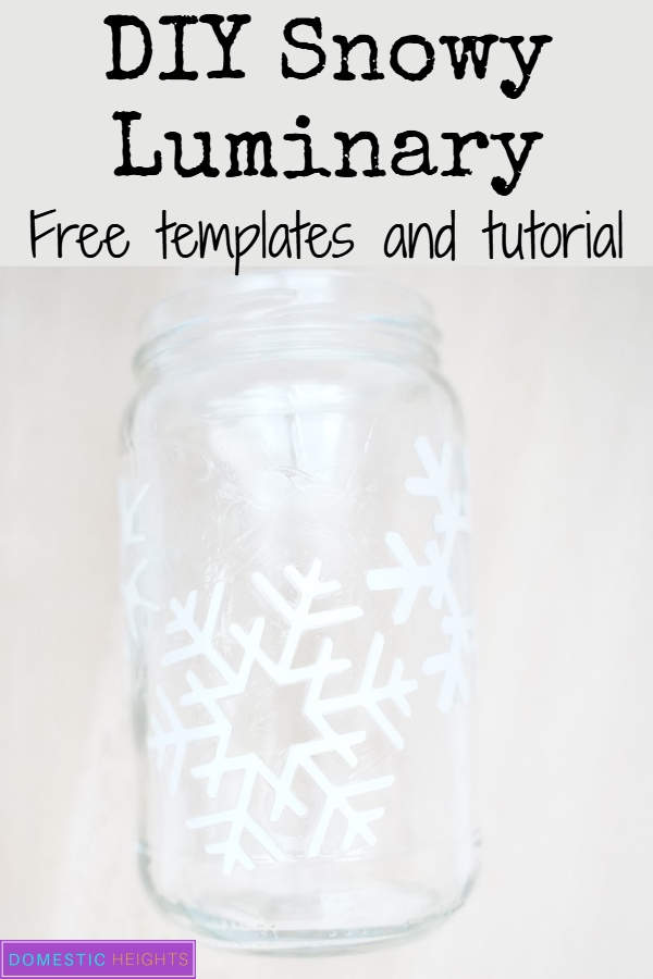 winter christmas mason jar craft, easy snowflake template, diy mason jar luminary