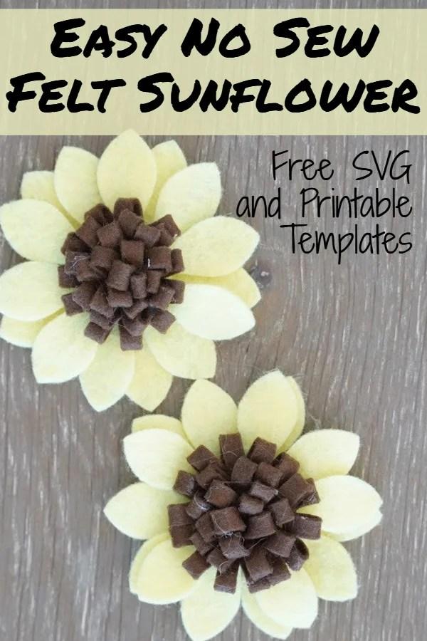 felt sunflower template